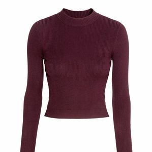 H&M divided Ribbed Sweater  shiny in Burgudy
